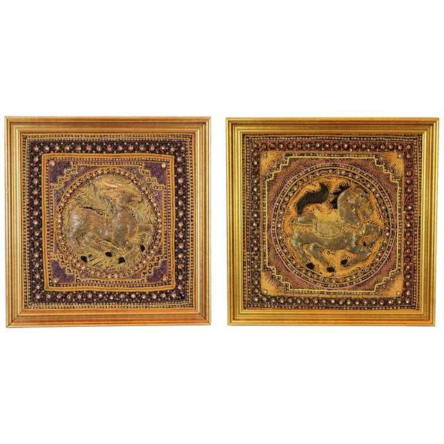 Pasargad DC Hand Made India Beaded Gazelle Raised Wall Art - A Pair For Sale