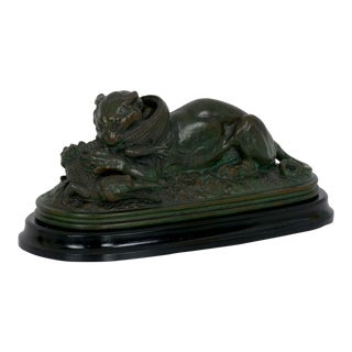 """Tiger Devouring a Gavial"" Bronze Sculpture After Antoine-Louis Barye, Late 19th Century For Sale"
