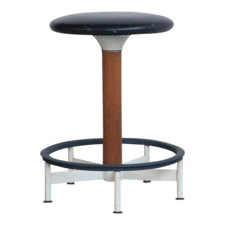 Mid-Century Modern Black Vinyl & Teak Bar Stool For Sale