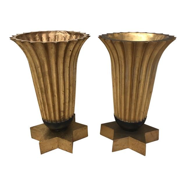 Gold Leaf Fiberglass Urns - A Pair - Image 1 of 11