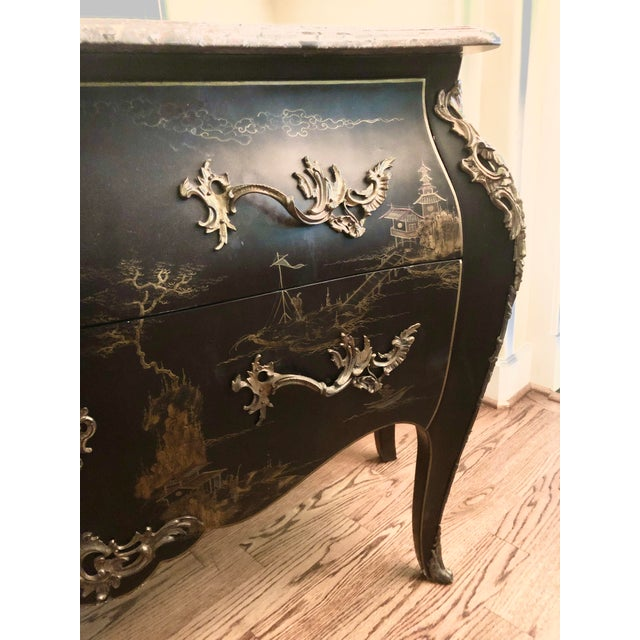 Early 20th C. Chinoisere Marbletop Louis XV Commode For Sale - Image 4 of 11