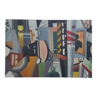 1950s Vintage Leo Villafana Cubist Oil on Canvas Painting For Sale