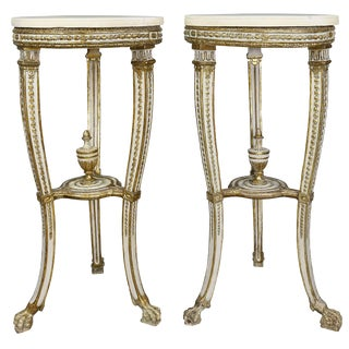 Pair of Swedish Neoclassical Giltwood and Painted Torchere For Sale