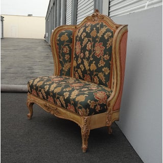 Vintage French Provincial Louis XVI Rococo Ornate Gold Floral Settee W Red Plaid Preview