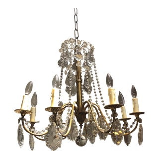8 Light Crystal & Bronze Chandelier For Sale