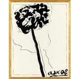 Image of Ink Flower 1 Art Print in Walnut Frame For Sale