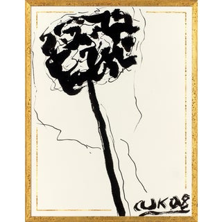 Ink Flower 1 Art Print in Walnut Frame For Sale