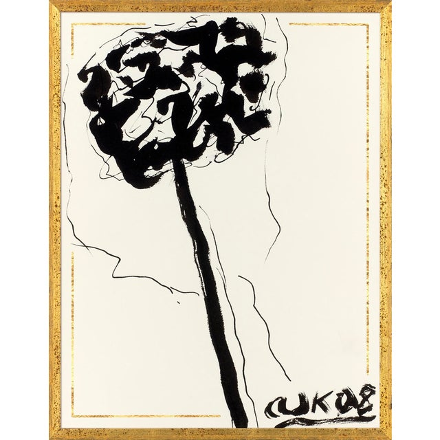 Ink Flower 1 Art Print in Walnut Frame For Sale