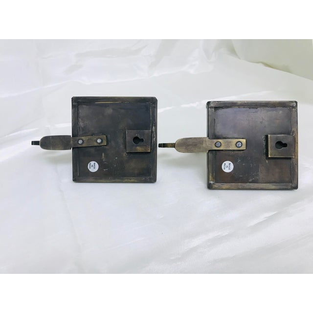 Metal 1990s Decorative Tile & Brass Wall Mounted Hooks - A Pair For Sale - Image 7 of 8