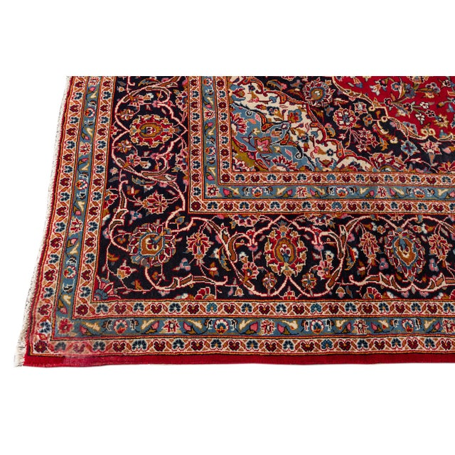 "Vintage Persian Kashan Rug, 9'8"" X 13'1"" For Sale - Image 4 of 10"