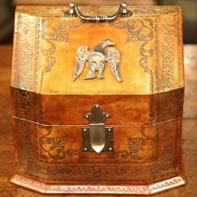 Decorate your desk with this elegant vintage letter holder from Italy. Crafted circa 1960, the embellished box is...