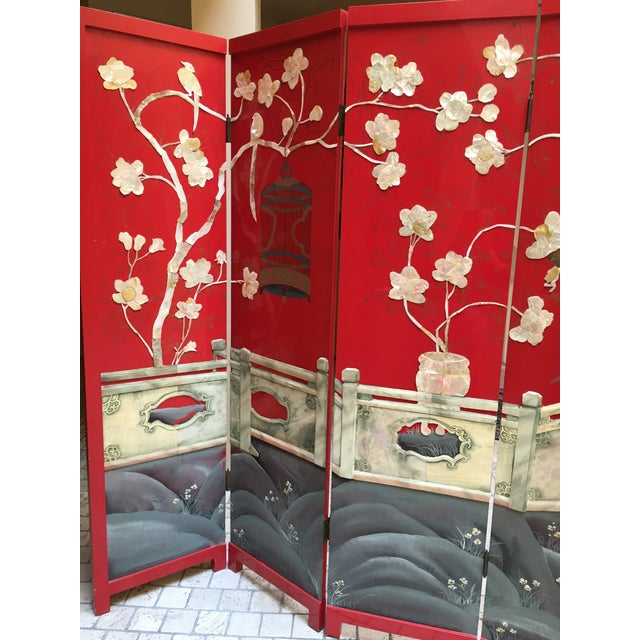 Vintage Red Lacquered Chinese Screen - Image 9 of 11