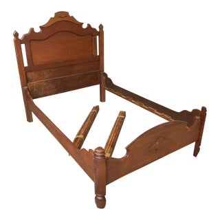 Early 20th Century Antique Schmidt Brothers Walnut Bed For Sale