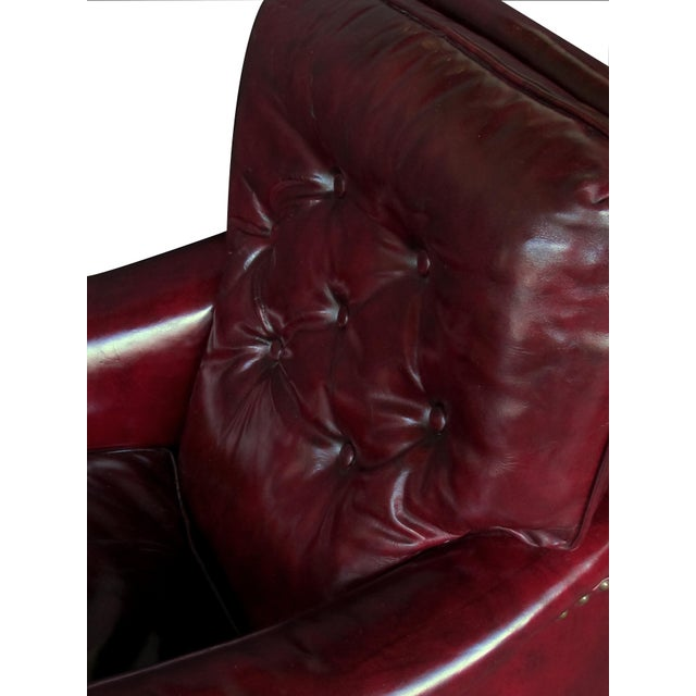 Traditional A Handsome and Comfortable American 1940's Chesterfield Club Chair and Ottoman With Deep Burgundy Leather For Sale - Image 3 of 6