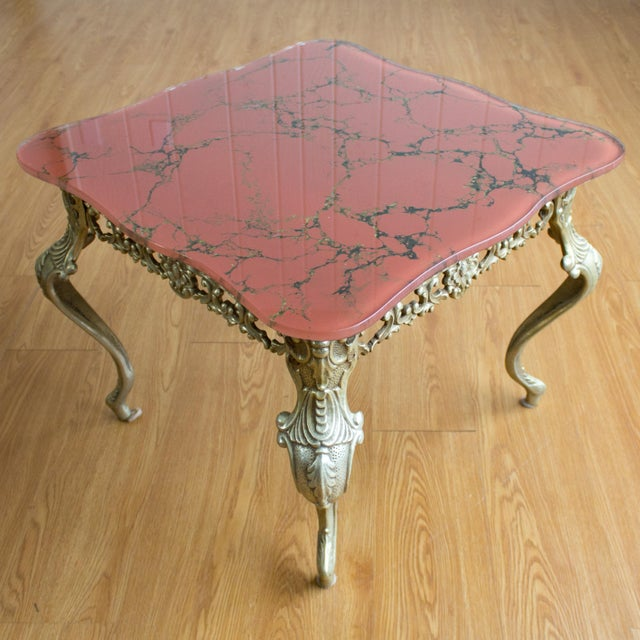 Chippendale Hollywood Regency Side Tables   Red Marbled Glass Cabriole Legs For Sale - Image 3 of 11