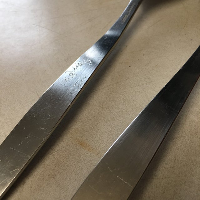 Mid-Century TH Marthinsen Pewter Salad Serving Utensils - a Pair For Sale In Chicago - Image 6 of 7