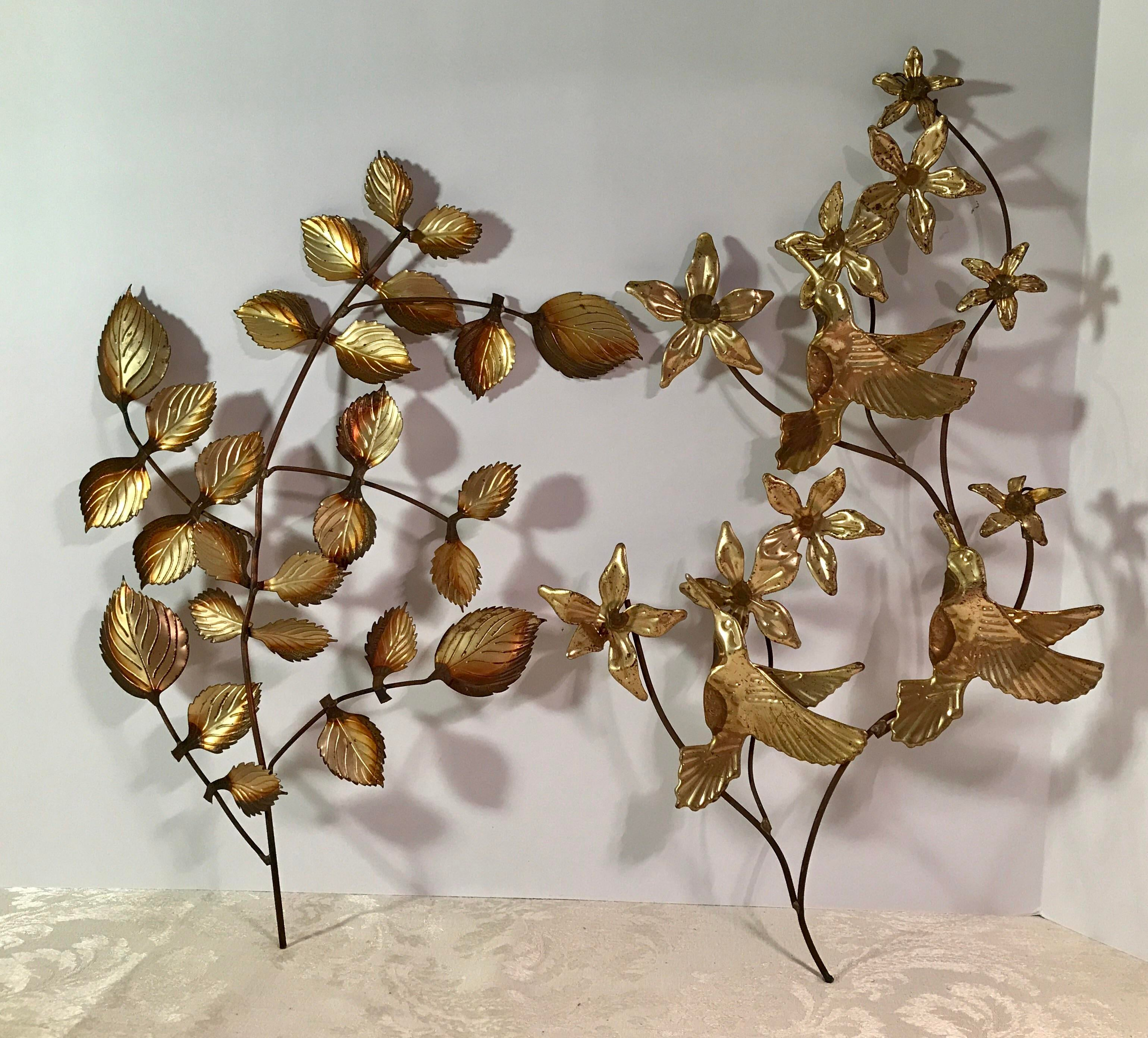 Mid Century Metal Leaf Wall Art   A Pair   Image 2 Of 9