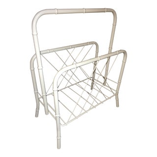 Vintage Faux Bamboo White Metal Magazine Rack For Sale