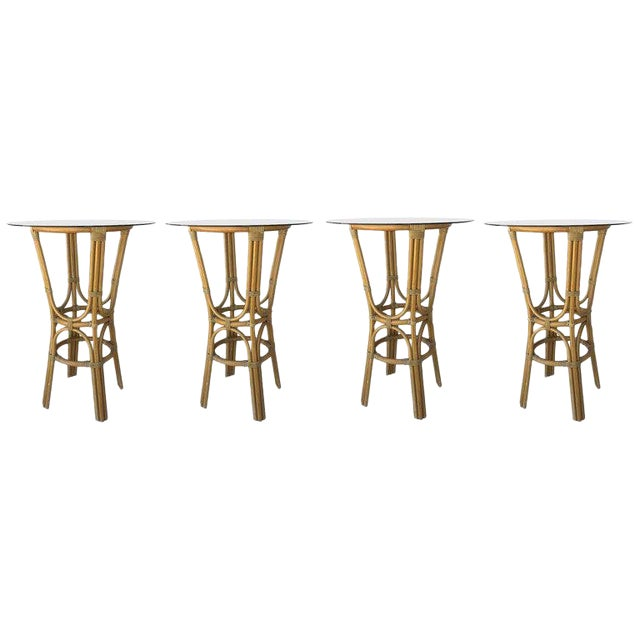 20th Century Set of Four High Round Cocktail Table in Faux Bamboo With Glass Top For Sale