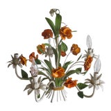 Image of Vintage Enamel Tole Chandelier With Flowers For Sale