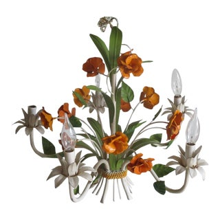 Vintage Enamel Tole Chandelier With Flowers For Sale