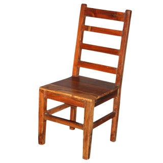 Teak Primitive Ladderback Chair For Sale
