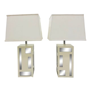 Pair Vintage Mid Modern Mirrored Lamps For Sale