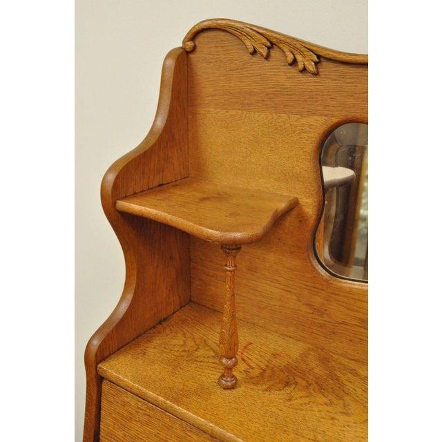 Antique Victorian Golden Oak Slant Drop Front Secretary Desk Bookcase W/  Mirror For Sale - - Antique Victorian Golden Oak Slant Drop Front Secretary Desk