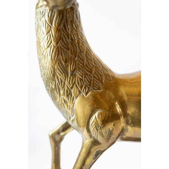 Vintage Mid-Century Statement Brass Stag Sculpture For Sale In Dallas - Image 6 of 11