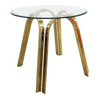 Roger Sprunger for Dunbar Style Brass Base and Glass Top Side Table For Sale