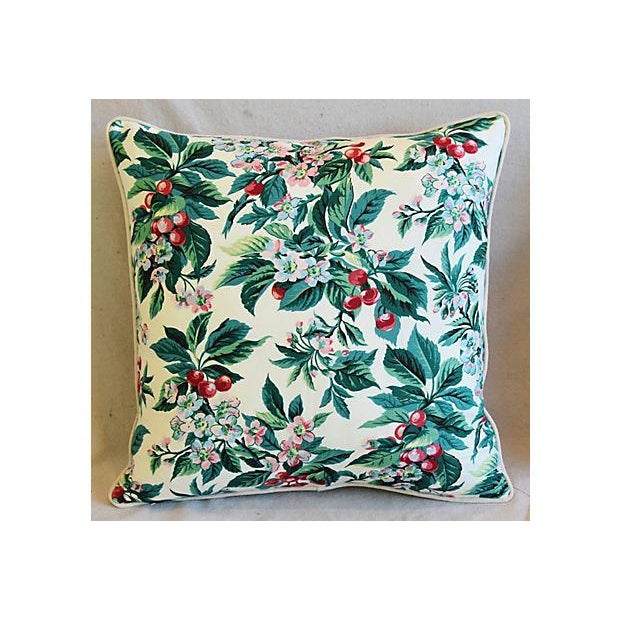 "Custom Tailored Schumacher Cherry Blossom Feather/Down Pillows 23"" Square - Pair For Sale In Los Angeles - Image 6 of 11"