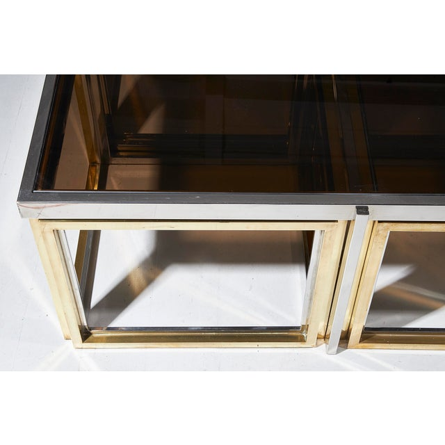 Contemporary Maison Charles, Paris, Large Brass and Chrome Square Coffee Table For Sale - Image 3 of 8