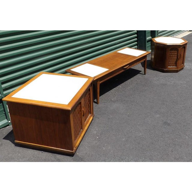 Maple Lane Maple With Marble Insets Coffee & End Table Living Room Group - 3 Pc. Set For Sale - Image 7 of 11