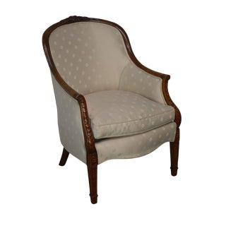 Custom Crafted George III Style Carved Frame Tub Chair For Sale