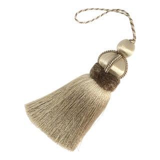 Beige Key Tassel With Cut Velvet Ruche - a Pair For Sale
