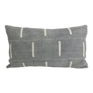 Gray Mali Mud Cloth Lumbar Pillow For Sale