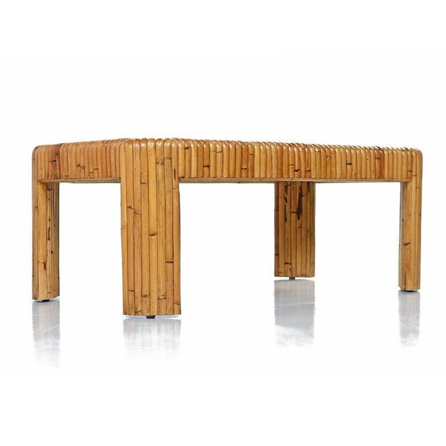 Mid-Century Modern Vintage Rattan Bamboo Coffee Table For Sale - Image 3 of 8