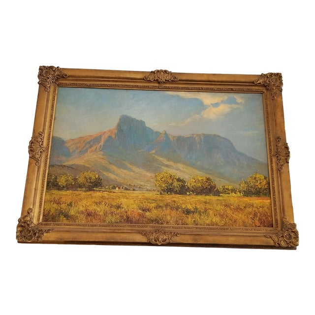 African Landscape Oil Painting in Gold Frame For Sale