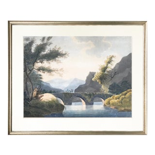 19th Century Italian Baroque Watercolor Landscape For Sale
