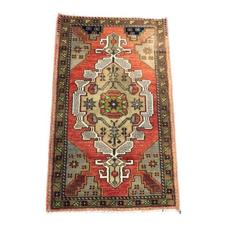 Medallion Design Antique Wool Turkish Traditional Small Rug 1′9″ × 2′10″ For Sale
