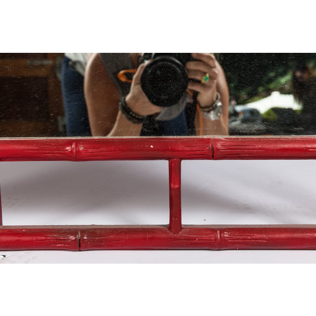 Asian Large Red Faux Bamboo Chinoiserie Mirror For Sale - Image 3 of 4