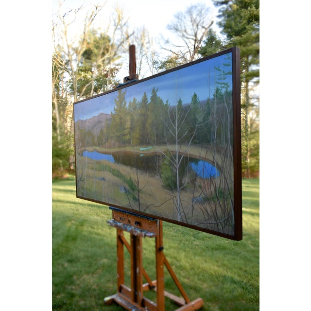 "Paint Large ""Canoe, Pond, and Mountains in Vermont"" Painting by Stephen Remick For Sale - Image 7 of 13"