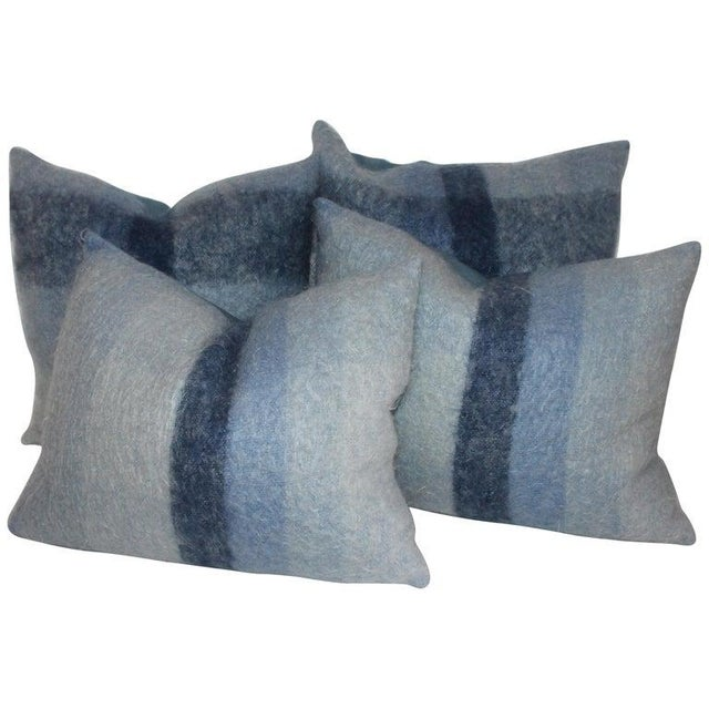 Textile Mohair or Lambs Wool Blue Pillows - Set of 4 For Sale - Image 7 of 7