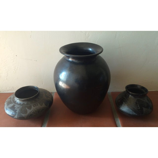 Black Indian Pottery - Set of 3 - Image 2 of 11