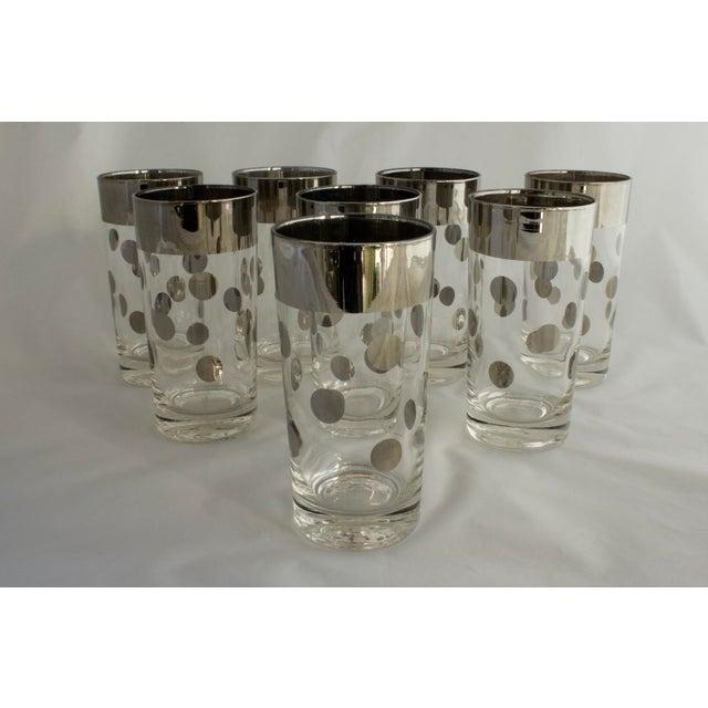 Dorothy Thorpe Dorothy Thorpe Silver Rim Polka Dot Glasses - Set of 8 For Sale - Image 4 of 5