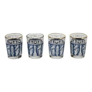 Vintage 1960's Corinthian Blue Jeannette Glass Cordial Glasses - Set of 4