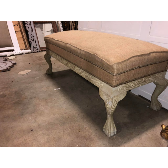 Early 20th Century Vintage French Burlap Long Bench For Sale - Image 5 of 6