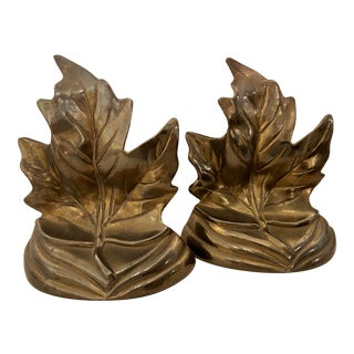 Bronze Colored Leaf Bookends - a Pair For Sale