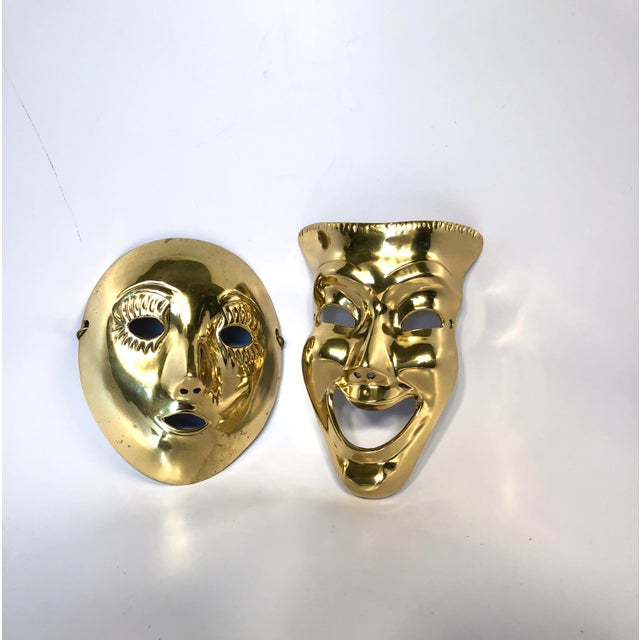 1970s Contemporary Solid Brass Decorative Theater Masks - a Pair For Sale - Image 6 of 6