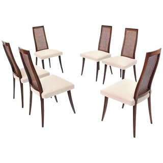 Set of Six Harvey Probber Dining Chairs with New Linen Upholstery For Sale